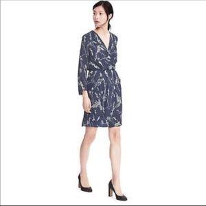 Banana Republic Black/Blue floral faux wrap dress